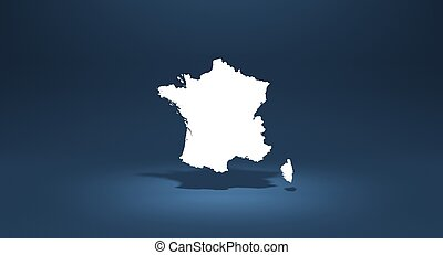 3D rendering french map on blue background