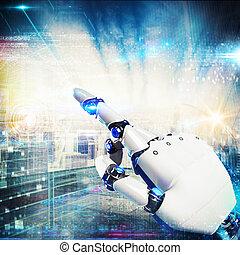 3D Rendering futuristic hand robot