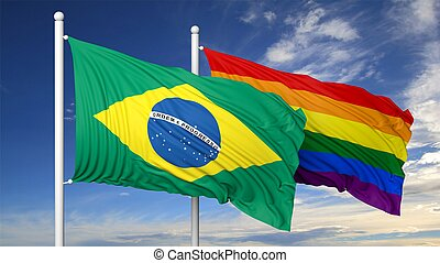 3d rendering gay flag with Brasil flag