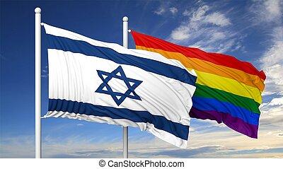3d rendering gay flag with Israel flag