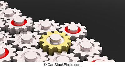 3d rendering gears on black background
