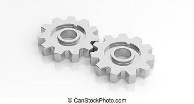 3d rendering gears on white background
