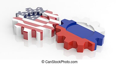 3d rendering gears with Russia and USA flags