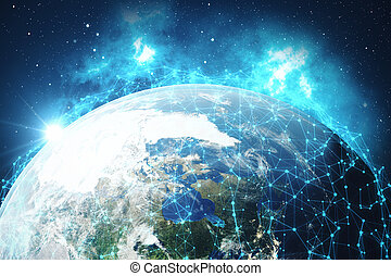3D Rendering Global Network and Data Exchange. Connection lines Around Earth Globe. Global International Connectivity. Elements of this image furnished by NASA.