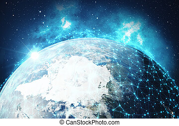3D Rendering Global Network and Data Exchange. Connection lines Around Earth Globe. Global International Connectivity. Elements of this image furnished by NASA