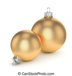 3D rendering gold Christmas ball