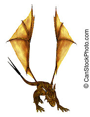 3D Rendering Golden Dragon on White