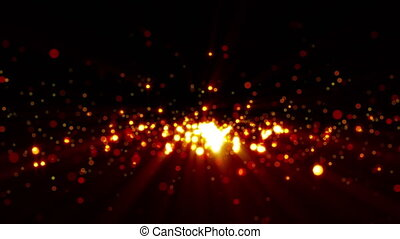 3D rendering golden particles shimmer and create bokeh on a...