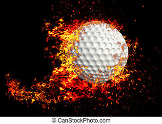 3D rendering, golf ball in fire isolated on black background