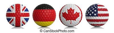 3d rendering golf balls on white background