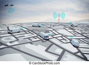3D Rendering GPS route - 3D Rendering trucks on the road...