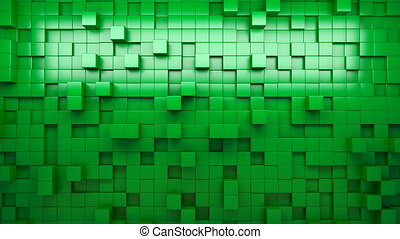 3D rendering green extruded cubes.