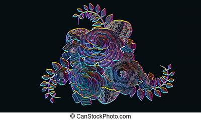 3d rendering, growing floral black background flowers,...