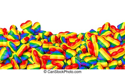 3d rendering hearts in gay flag colors background