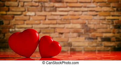 3d rendering hearts on a brick wall backgound
