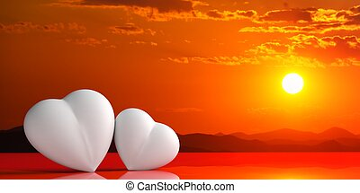 3d rendering hearts on sunset background