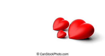 3d rendering hearts on white background