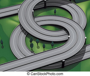 Highway motorway junction - 3d rendering, Highway motorway...