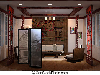 3D Rendering Home Interior Japanese Style