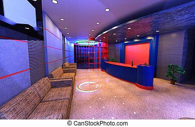 3D Rendering Hotel Reception Interior