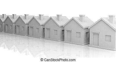 3d rendering houses in line