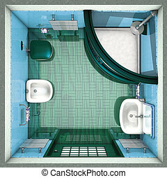 Bathroom green top - 3d rendering illustration, Bathroom...