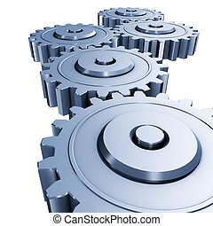 3d rendering illustration, blue gears engineering on white background