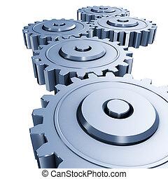 blue gears engineering - 3d rendering illustration, blue ...
