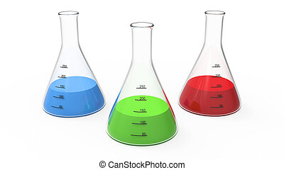3D rendering illustration chemistry bulb with a green, red, blue liquid