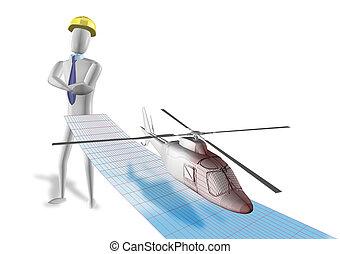 Engineering elicopter - 3d rendering illustration, ...