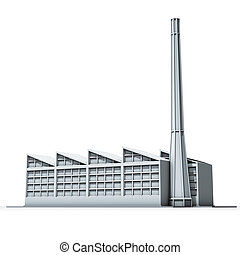 factory and chimney - 3d rendering illustration, factory and...