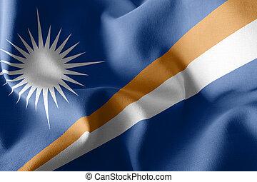3D illustration flag of Marshall Islands. Waving on the wind flag textile background