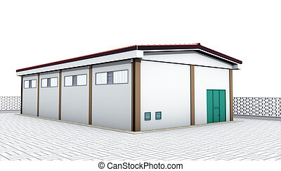 industrial warehouse - 3d rendering illustration, industrial...