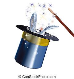 Magic hat rabbit - 3d rendering illustration, Magic hat...