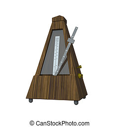 3D rendering illustration metronome on white background