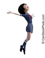 3D Rendering Japanese Schoolgirl on White