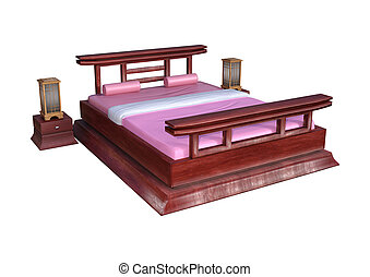 3D Rendering Japanese Style Bed on White