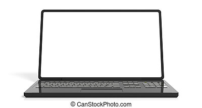 3d rendering laptop on white background