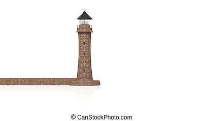 3d rendering lighthouse - 3D rendering lighthouse on white...