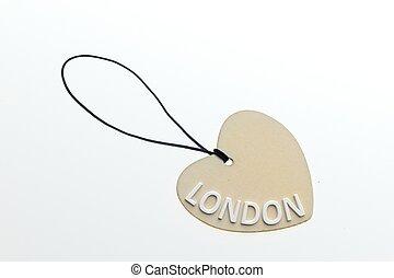 3D rendering LONDON word on paperboard