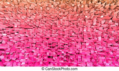 3d rendering low poly abstract geometric background with modern gradient colors. 3d surface with red orange gradient and white wireframe square. v1