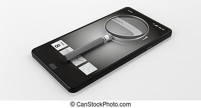 3d rendering magnifier glass on a smartphone