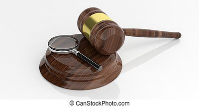 3d rendering magnifier glass on a wooden auction gavel