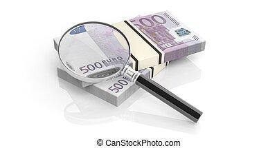3d rendering magnifier on euros stack