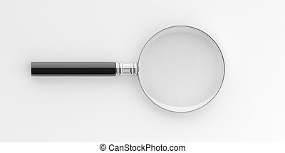 3d rendering magnifier on white background