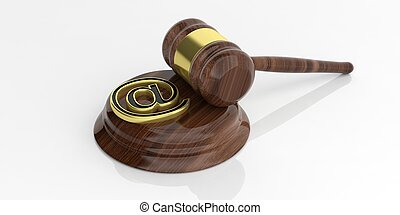 3d rendering mail symbol and an auction gavel
