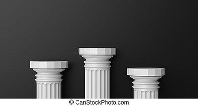 3d rendering marble columns podium