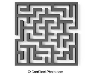 3d rendering maze, top view of grey square maze template,...