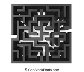 3d rendering maze, top view of black square maze template,...