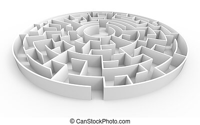 3d rendering maze, white round maze template, labyrinth for...